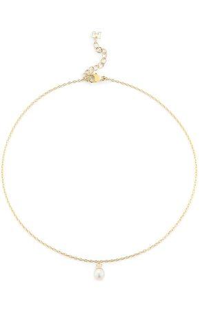 Mateo Naiset Bodyt - 14kt yellow single pearl drop chain anklet