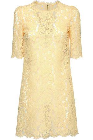 Dolce & Gabbana Cotton & Viscose Lace Effect Mini Dress