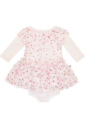 Stella McCartney Baby polka-dot tulle and cotton playsuit