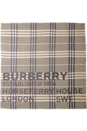 Burberry Huivit - Horseferry print check-pattern scarf
