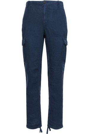 Wax London Miehet Reisitaskuhousut - Brick Linen Cargo Pants