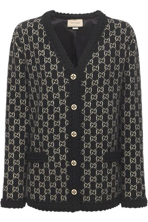 Gucci Naiset Neuletakit - Logo Wool Jacquard Knit Cardigan
