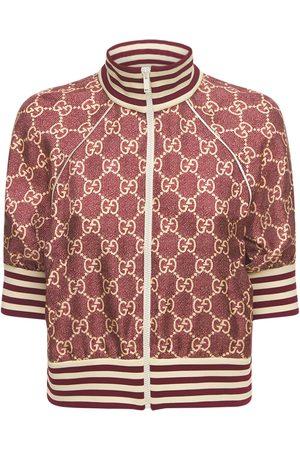 Gucci Naiset Päällystakit - Logo Printed Silk Twill Zip Jacket
