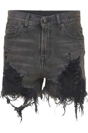 R13 Naiset Farkkushortsit - Distressed Cotton Denim Shorts