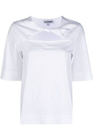 Ganni Twist-detail cotton T-shirt