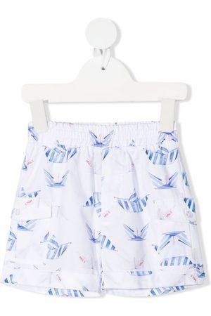 MONNALISA Shortsit - Paper boat-print cotton shorts