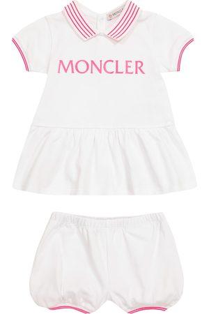Moncler Setit - Baby logo cotton dress and bloomers set