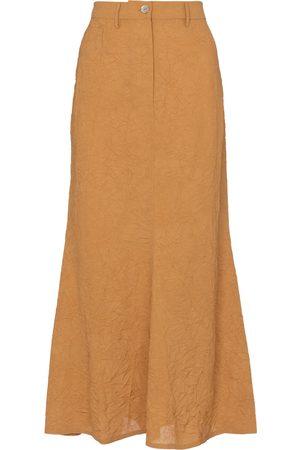 Nanushka Bri crinkled sateen midi skirt