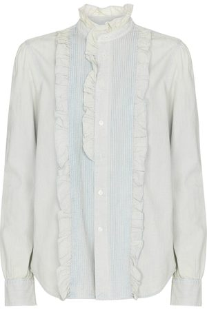 Polo Ralph Lauren Frilled cotton chambray blouse
