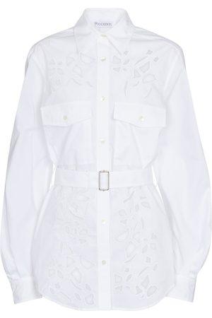J.W.Anderson Belted cutout cotton poplin shirt