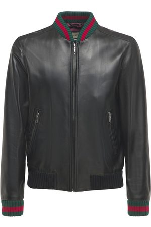 Gucci Leather Jacket W/ Web Detail