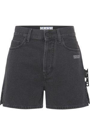 OFF-WHITE High Waist Cotton Denim Shorts