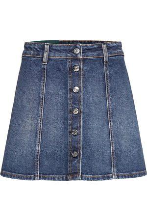 Self Cinema Womens Denim Skirt Embroidered Lyhyt Hame
