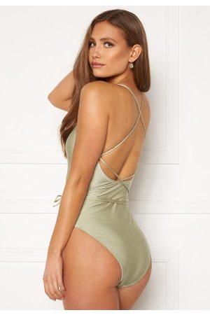 BUBBLEROOM Naiset Uimapuvut - Melia high thigh strap swimsuit Dusty green L