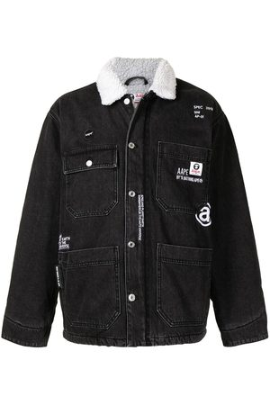 AAPE BY A BATHING APE Faux shearling-collar denim jacket