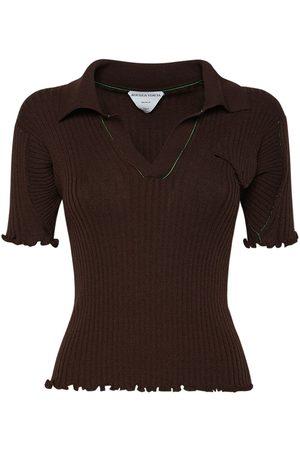 Bottega Veneta Wool Rib Knit Polo Sweater