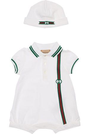 Gucci Stretch Cotton Piquet Romper & Hat