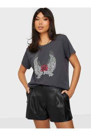 Vila Naiset T-paidat - Virocksy Rock S/S T-Shirt/L/K Asphalt Wild Roses