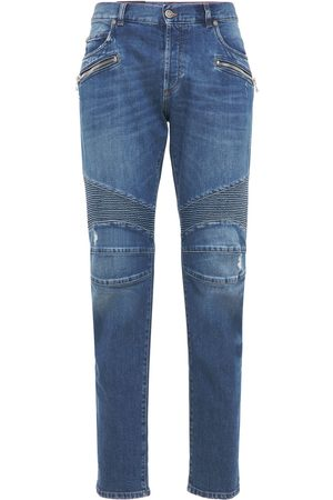 Balmain Miehet Tapered - Ribbed Cotton Denim Tapered Jeans