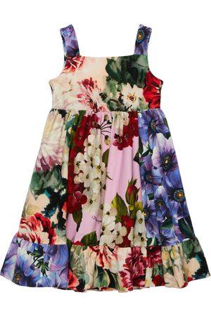 Dolce & Gabbana Tytöt Printtimekot - Flower Print Cotton Interlock Dress