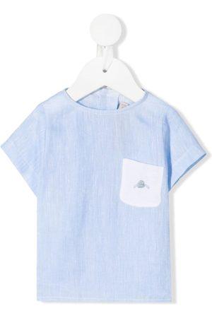 LA STUPENDERIA Chest pocket linen T-shirt