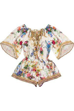 Camilla Tytöt Printtimekot - Floral cotton playsuit