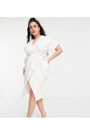Closet Kimono wrap midi dress in ivory-White