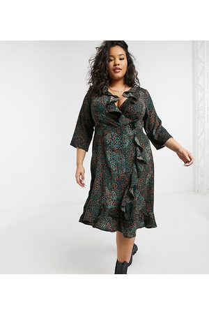 Yours Satin wrap dress with ruffle detail in green animal