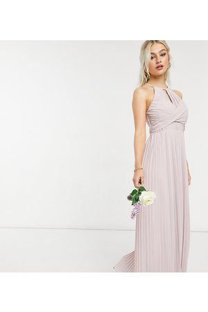 TFNC Bridesmaid pleated wrap detail maxi dress in mink-Pink