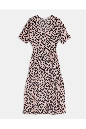 Topshop Button down wrap midi dress in pink