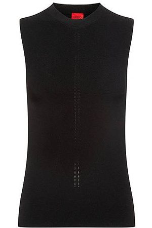 HUGO BOSS Naiset Hihattomat - Slim-fit sleeveless top in knitted stretch fabric