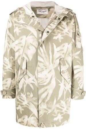 Saint Laurent Miehet Parkatakit - Leaf pattern hooded parka