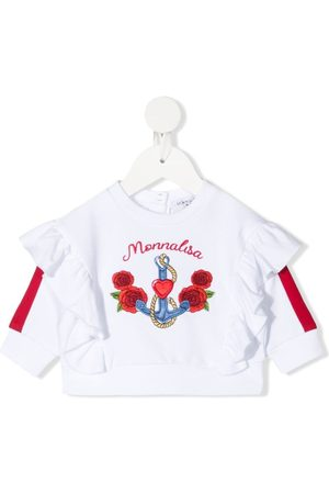 MONNALISA Collegepaidat - Embroidered-logo sweatshirt
