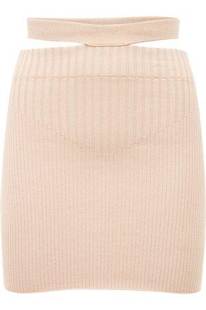 ANDREA ADAMO Naiset Minihameet - Viscose Blend Rib Knit Cutout Mini Skirt