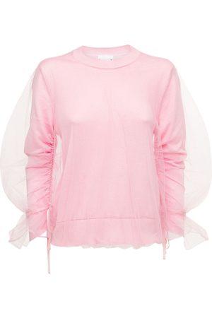 NOIR KEI NINOMIYA Tulle & Silk Jersey Crewneck Sweater