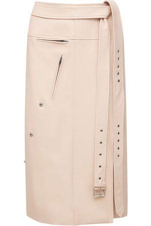 Alexander McQueen Belted Leather Midi Skirt