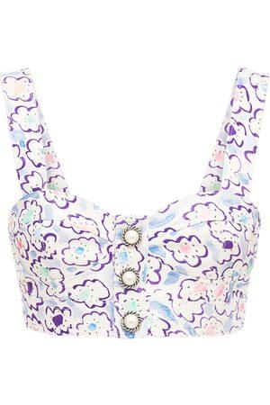 Alessandra Rich Naiset Bralette - Printed Cotton Gabardine Bralette Top