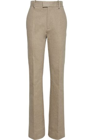 Bottega Veneta Stretch Linen Canvas Straight Leg Pants