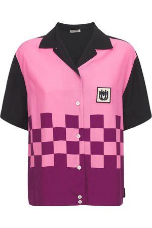 Miu Miu Naiset T-paidat - Printed Viscose Bowling Shirt