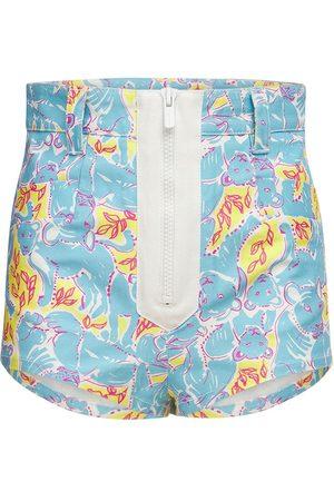 Miu Miu High Rise Printed Cotton Denim Shorts