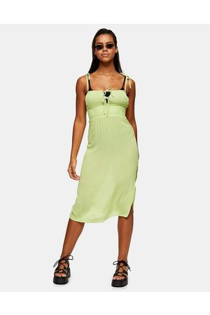 Topshop Ruche front midi beach dress in lime-Green