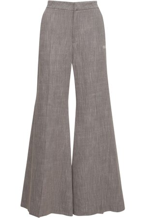 OFF-WHITE Linen Blend Melange Flared Pants