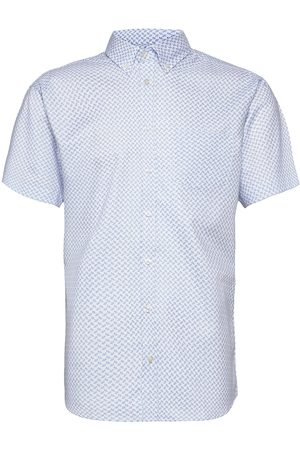 BOSWEEL SHIRTS EST. 1937 Miehet Bisnes - Blue Pattern On White Organic Oxford Lyhythihainen Paita