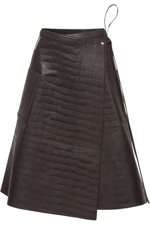 Peter Do Croc Embossed Leather Wrap Skirt