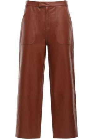 Zeynep Arcay Naiset Nahkahousut - Leather Wide Crop Pants