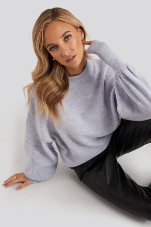 NA-KD Naiset Neulepaidat - Wool Blend Balloon Sleeve Sweater - Purple