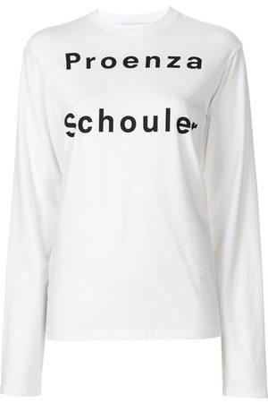 PROENZA SCHOULER WHITE LABEL Naiset T-paidat - Long sleeve logo T-shirt