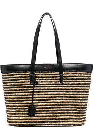Saint Laurent Woven striped tote bag