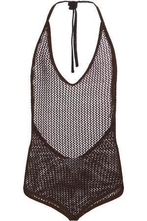 Bottega Veneta Halterneck cotton-blend bodysuit