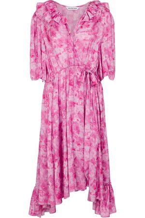 Balenciaga Asymmetric floral midi dress